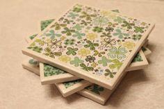 St Patrick's Day ceramic tile coasters