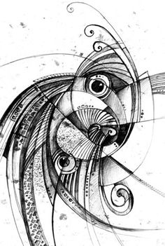 Image of 'Abstract drawing black ink with unusual spiral structure' on Colourbox
