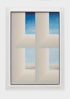 """moodoofoo:  """"Julian Hoeber  Window/Sky, 2014  acrylic and oil on linen  42-1/8 x 30-¼ x 2-½ inches  """""""