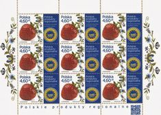 Natural Science Stamps: Europe Baltic (Estonia, Latvia, Lithuania, Poland) 2013-2018    18th JULY 2013, POLAND - Polish regional Products, Strawberry (Fragaria)
