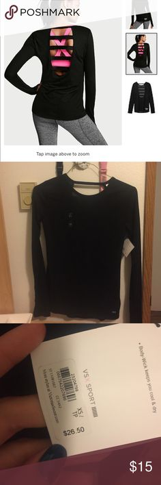 VSX SPORT LONG SLEEVE Back is cut out. PINK Victoria's Secret Tops Tees - Long Sleeve