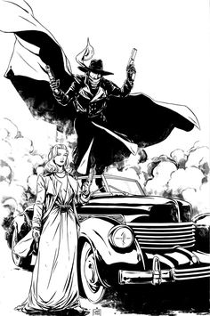 The Shadow and Margo Lane inks by MarcLaming.deviantart.com