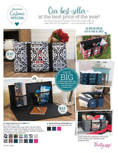 Thirty-One September Customer Special - Large Utility Tote and Stand Tall Insert