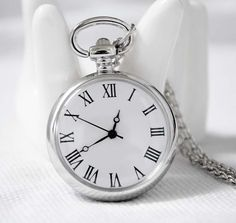 New Pocket Clock Roman Number Quartz Necklace Watch Pendant Sweater Chain Silver