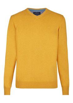 Daniel Hechter Moderner Strickpullover für 59,95€. Moderner Pullover, Basic-Teil, Reine Baumwolle, V-Kragen, Kontraste im Kragenbereich bei OTTO
