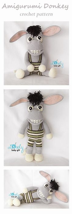 Amigurumi Pattern, Donkey crochet pattern by Lovely Baby Gift. Soft Toy Crochet Tutorial, Plush Toy for Kids.