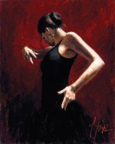 Flamenco Dancer El Baile del Flamenco en Rojo I painting | framed paintings for sale
