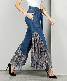 Another great find on #zulily! Blue Paisley Chiffon High-Waist Ruffle Pants - Women #zulilyfinds