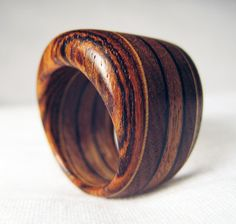 Would Look Amazing w/a Cute Summer Dress: Chunky Wooden Ring  Walnut Bocote & Veneer by Endeavours on Etsy,