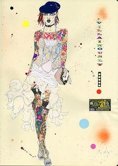 Villainously John Galliano illustration by Sarah Beetson Fashion Figure Drawing, The Face Magazine, Art Et Illustration, Art Illustrations, Fashion Illustrations, Model Sketch, Portraits, Fashion Design Sketches, John Galliano