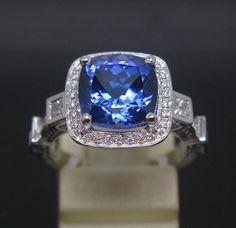 $3,995 HUGE Gorgeous 4.95CT Tanzanite & Diamond engagement ring!