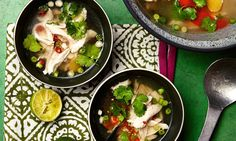 After the Christmas blowout, it's time to turn to lighter cooking: chicken poached in a fragrant Asian broth, and udon noodles with sesame greens