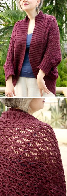 Free Knitting Pattern for Thysania Sweater Wrap - This oversized shrug cardigan features a cable and eyelet pattern knit in a rectangle that is seamed for armholes. Stitches are picked up for the cuffs and collar. Sizes XS-SM-L, 1X-2X, 3X-4X XS-S, M-L, 1X-2X, 3X-4X. Designed by Alison Green for Knitty