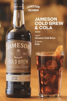 Enjoy this unexpected combo made with familiar flavors. The Jameson Cold Brew & Cola is serving up smooth, rich tastes with an Easy summer recipe. The perfect way to shake up any occasion we recommend serving this at your home bar this weekend. Mixed Drinks Alcohol, Alcohol Drink Recipes, Beer Recipes, Coffee Recipes, Jameson Whiskey Drinks, Irish Whiskey, Irish Beer, Fun Cocktails, Cocktail Drinks