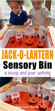 halloween activities Jack-o-Lantern Sensory Bin for Toddlers - HAPPY TODDLER PLAYTIME Create a jack-o-lantern in this super fun scoop and pour coloured rice sensory bin. Its a great not-so-scary Halloween activity for toddlers and preschoolers. Halloween Activities For Toddlers, Toddler Learning Activities, Autumn Activities, Infant Activities, Fall Activities For Preschoolers, Science Activities, Halloween Bebes, Theme Halloween, Scary Halloween
