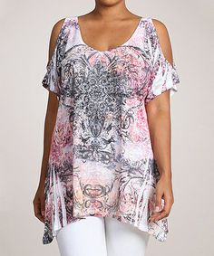 Another great find on #zulily! Gray & Pink Filigree Sublimation Cutout Top - Plus #zulilyfinds