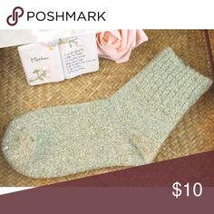 Wool Warm Soft Casual Winter Socks !!!NWOT!!! Soft socks for winter. Color - heather green. ONE SIZE 5 - 9 Details: 80%Wool Cashmere,15%Nylon,5%Polyurethane Accessories Hosiery & Socks