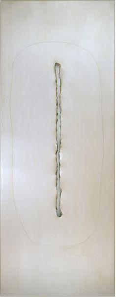 LUCIO FONTANA Concetto Spaziale, 1965 Graphite on aluminum 95 3/4 x 38 x 3 1/4 inches (243 x 96.5 x 8 cm)