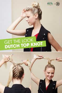 Take your top knot to the next level with Garnier Fructis Style! 1) Split hair into two sections and clip top section. 2) Starting at the base of the neck, create a Dutch braid with the lower portion of hair. As you braid, layer each piece of hair under, rather than over. Braid until you reach clipped hair at top of head. 3) Twist braid and top section into a top knot. 4) Secure with elastic and finish with Sleek & Shine Anti-Humidity Hairspray. Photo by @winniewow for Refinery 29