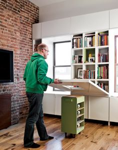 """Love this idea!! This is from a """"New York Transformer Apartment"""". Great use of space."""