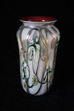 VINTAGE LARGE EARLY JOHN LOTTON CASED ART GLASS RED GOLD VASE IRIDIZED FINISH