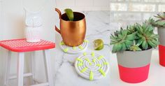 Simple and fun DIY ideas that give your home a pop of neon color.
