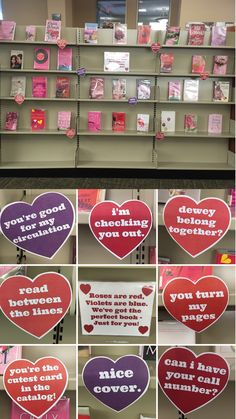 Valentine's Day library book display with punny candy heart pick up lines