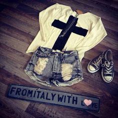 in love with the cross shirt ; and love the shorts <3