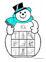 Free!! Snowman sound printables!! Letter K! Links to other letters!
