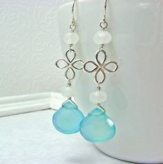Sky Blue Chalcedony Drops Sterling Silver by ZhivanaDesigns, $48.00