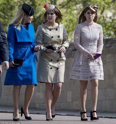 Spring dresses: Autumn Phillips, left, Princess Eugenie, centre and Princess Beatrice, rig...