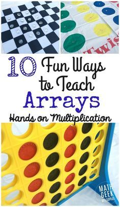 An array is a useful and powerful visual to teaching multiplication. In this post learn tons of hands on ways to teach arrays to make multiplication fun! Multiplication Activities, Math Activities, Math Games, Math Math, Array Multiplication, Numeracy, Math Fractions, Math Stem, Dice Games