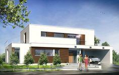 Projekt Willa l' Azur to elegancki, piętrowy dom jednorodzinny z płaskim dachem, przeznaczonym dla cztero-pięcioosobowej rodziny. Budynek składa się z głównej, jednopiętrowej bryły, otoczonej parterowymi dobudówkami, zadaszeniami i tarasami. Architektonicznie dom nawiązuje do modernistycznych, XX-wiecznych willi z płaskimi dachami - we współczesnym ujęciu, z zastosowaniem nowoczesnych materiałów i rozwiązań.