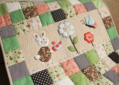 """Купить Лоскутное одеяло """"Маленький садовник"""". Детское лоскутное покрывало - лоскутное шитье, лоскутное одеяло"""