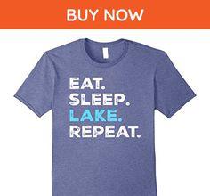 Mens Eat Sleep Lake Repeat Summer Vacation Funny T-Shirt Large Heather Blue - Funny shirts (*Amazon Partner-Link)