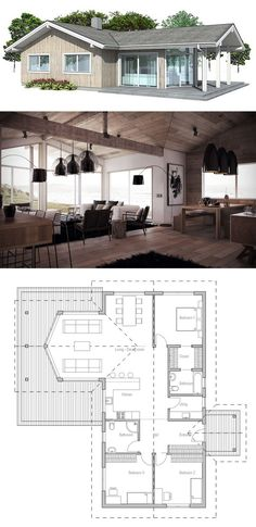 Three bedroom house plan. Floor Plan from ConceptHome.com