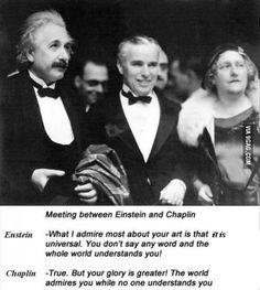 Einstein and Chaplin on each other's art. - Imgur
