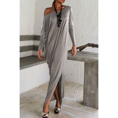 Stylish Skew Neck Long Sleeve Solid Color High Slit Dress For Women