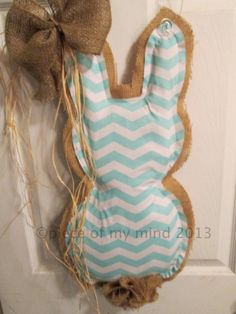 Burlap Door Hanger Easter Bunny with Tail Natural by nursejeanneg, $30.00