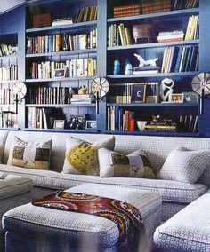 "Interior design by Kristen Panitch. Details: Peter Dunham ""Cruz"" sofa fabric, Farrow & Ball Down Pipe on shelves, Urban Electric sconces."