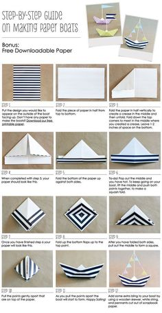 How To Make A Paper Boat Anchor Nautical Party Ideas // Free Printable Nautical Paper // BigDotOfHappiness.com #paperboats #nauticalparty #anchors: