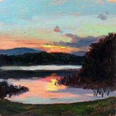 "2/13/15 | Trout Lake Sunset Study | 6x6"" | Oil by Takeyce Walter"