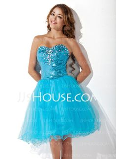 Homecoming Dresses - $129.99 - A-Line/Princess Sweetheart Knee-Length Tulle Sequined Homecoming Dress With Beading (022009298) http://jjshouse.com/A-Line-Princess-Sweetheart-Knee-Length-Tulle-Sequined-Homecoming-Dress-With-Beading-022009298-g9298
