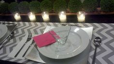 Wedding place setting, chevron runner. Looks great with hot pink, orange or yellow as accent.