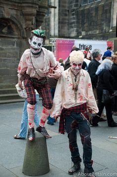 Ghoulish behaviour on the Royal Mile at the Edinburgh Fringe Festival  http://www.aboutbritain.com/articles/edinburgh-festival-fringe.asp