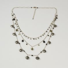 NuNu Designs Triple Layer Scattered Gems Necklace (More colors available)