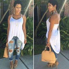 Scoop Spaghetti Strap Irregular Pure Color Blouse - Meet Yours Fashion - 5 Look Fashion, Girl Fashion, Fashion Outfits, Womens Fashion, Fashion Trends, Feminine Fashion, Cheap Fashion, Casual Chic, Casual Wear