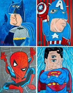 picasso-superheroes. Planning on doing a series like this, Picasso-inspired animals / superheroes / ninja turtles / princesses for our baby's nursery <3 (Hope it doesn't scare the baby? LOL)