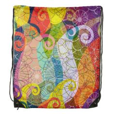 Psychedelic Design Drawstring Backpack