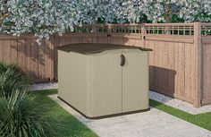 Low Height Shed – Suncast Glidetop Shed. Suncast's low-height shed receives exceptional feedback, delivering triple way lockable access, weather-resistance, sturdy build quality & easy-to-clean: Plastic Storage Sheds, Plastic Sheds, Outdoor Storage Sheds, Shed Storage, Storage Spaces, Bike Storage, Tool Storage, Storage Containers, Garbage Shed